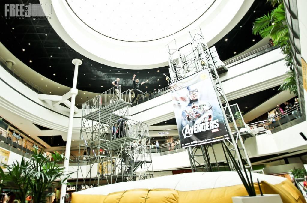 Opération FreeJump / Avengers au centre commercial Creteil Soleil